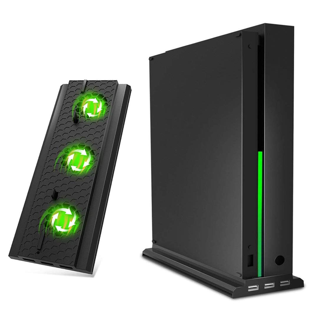 OIVO Vertical Stand for Xbox One X, Cooling Fan, Vertical Cooling Stand Docking Station with 3× 2.0 USB HUB Adapter and a Light Bar for Xbox One X