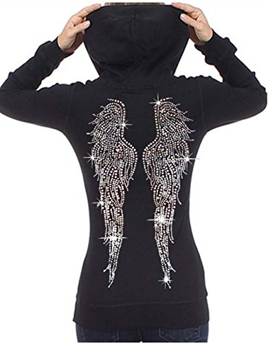 Rhinestone Skull Sweatshirt - Interstate Apparel Inc Juniors Huge Angel Wings Rhinestone Thermal Zipper Hoodie Black S-XL (S (Juniors), Black)