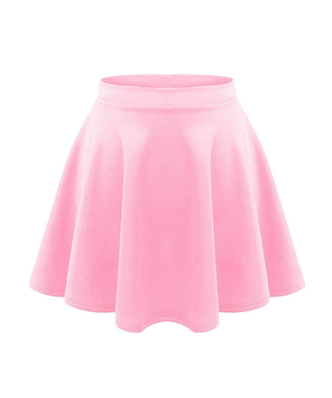 Kids Plain Skirt Skater Girls High Waist Stretch Tutu Flared Shorts 5-13 years