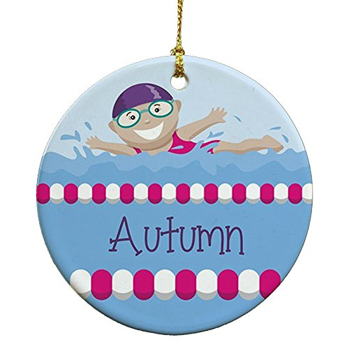 GiftsForYouNow Girl Swimmer Personalized Ornament