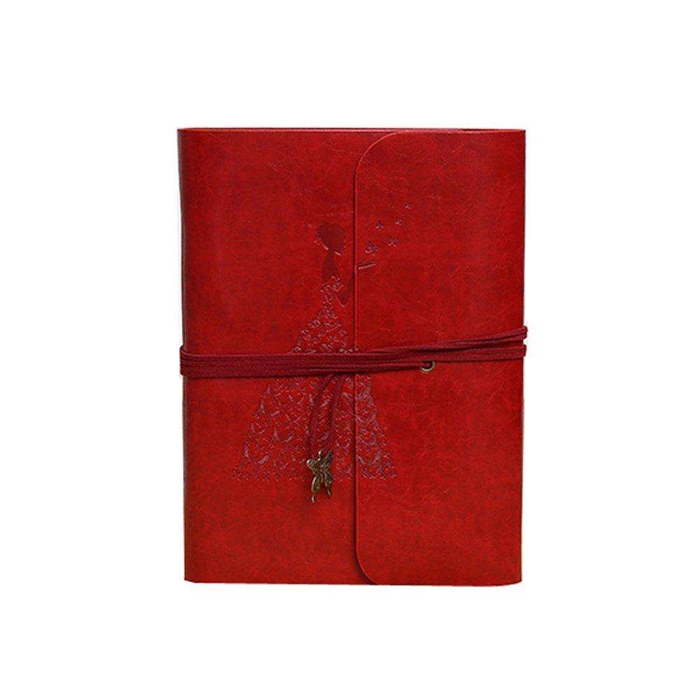 Three Horses Scrapbook DIY Vintage Leather Album Stick-on Creative Wedding Anniversary Creative Birthday Gift to Commemorate The Couple Travel Diary Baby Creative Album (Red)