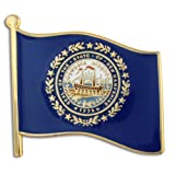 PinMart's New Hampshire US State Flag NH Enamel Lapel Pin 1""