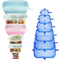 [12Pack] longzon 12pcs Silicone Stretch Lids Square, Reusable Durable Rectangular Food Storage Covers for Bowls, Cups…