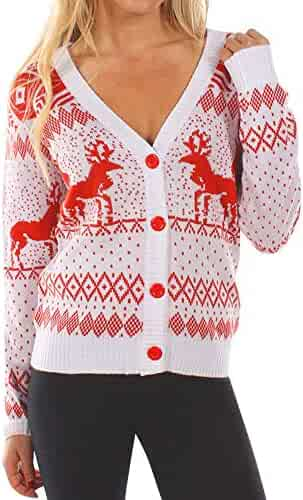 401fa33170c Fainosmny Women Cardigan Christmas Sweater Print Jacket Coat Button Knitwear  Tops Xmas Blouse Coat Tops Outwear