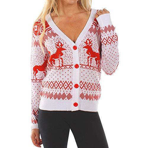 Motif Col Cardigan De Tricoté Neige Flocon Rond Manches Christmas Dames Pullover En Sapin Noël Lonshell Devant Pull Blanc Merry Ouvert Top shirt Imprimé Fête Coton Femme Courtes T ZP7qZ1nwO