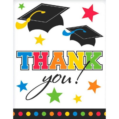 5 x 4 5 x 4 TradeMart Inc Pack of 50 780007 Amscan Multicolor Graduation Party Thank You Postcards
