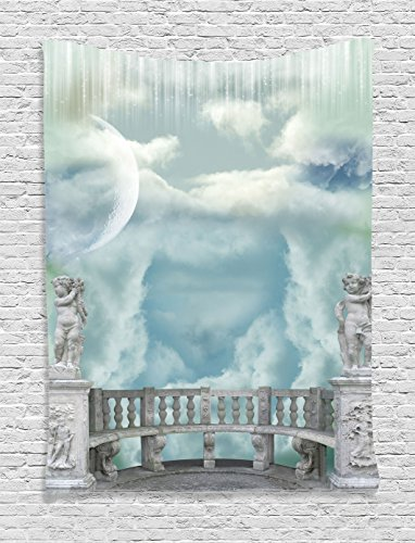 Ambesonne Mystic House Decor Collection, Balcony in the Sky with Angel Statues Princess Castle Victorian Style Architecture, Bedroom Living Room Dorm Wall Hanging Tapestry, Blue White