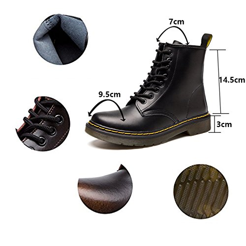 ukStore Women Men Combat Martin Boots Leather Waterproof Classic Lace Up Flat Short Ankle Boot Winter Warm Faux Fur Lined Snow Shoes Outdoor Without Lining-black-1 II7cQeoU7