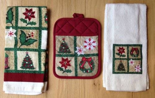 The Pecan Man Everyday Kitchen Set of 3, 1 Pot Holders & 2 Kitchen Towels Christmas (Refrigerator Covers Fat Chef compare prices)