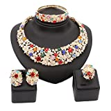 18K Gold Plated Shinning Colorful Rhinestone Crystal Necklace Earrings Bangle Ring Jewelry Sets