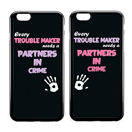 Cute Funny Girly BFF Best Friends Girlfriend Friendship Sisters Cousin Couple Matching Stuff Every Trouble Makes Needs A Partner In Crime Cool Cute Soft Clear Cases Replacement for iPhone 7/8