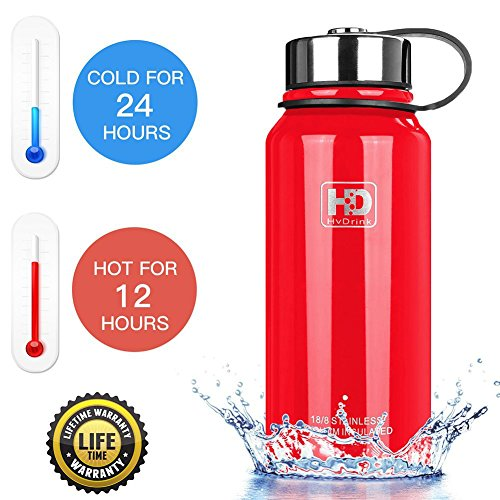 50 oz, 37 oz, 27 oz, 21 oz Stainless Steel Vacuum Insulated Water Bottle, Wide Mouth with Leak Proof Cap and Built-in Filter (Red, 50oz)