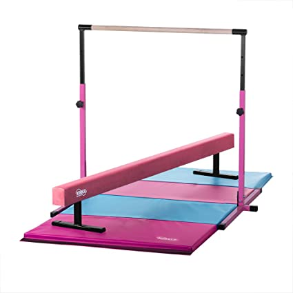 82d0d6276116 Image Unavailable. Image not available for. Color: Nimble Sports Little Gym  - Pink Adjustable Horizontal Bar ...