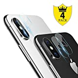 iPhone X Camera Lens Protector – [4 PACK] ICHECKEY Super Clear Ultra HD Back Camera Lens Tempered Glass Screen Cover Film for Apple iPhone X / iPhone 10, 5.8 Inch