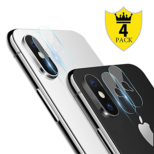 iPhone X Camera Lens Protector - [4 PACK] ICHECKEY Super Clear Ultra HD Back Camera Lens Tempered Glass Screen Cover Film for Apple iPhone X / iPhone 10, 5.8 Inch