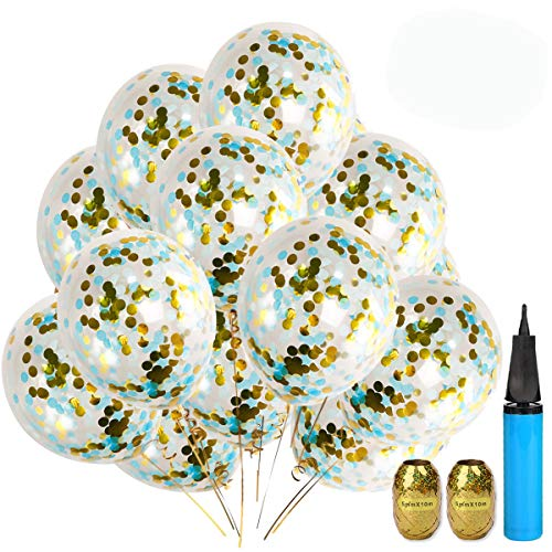 UTOPP 20 Pack Dark Light Blue and Gold Foil Confetti Balloons, 12