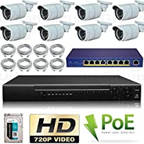 USG 720P HD PoE IP CCTV Kit: 8x 720P IP PoE 3.6mm Bullet Cameras + 1x 16 Channel NVR + 1x 9 Port PoE Switch + 1x 2TB HDD + 8x Ethernet Cables *** High Definition Video Surveillance For Your Home or Business!