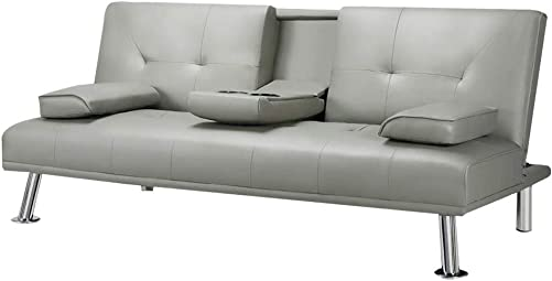 DKLGG Sofa Bed Futon Couch Faux Leather Sleeper Convertible Love Seat Sofas w/Metal Legs