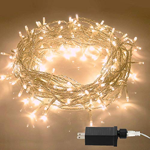 Aluan Christmas Lights String Lights 100 LED 33ft+10ft 8 Modes Plug in Indoor String Lights 31V Waterproof Fairy Lights Home Garden Party Wedding Christmas Tree Bedroom Window Curtain Decoration]()