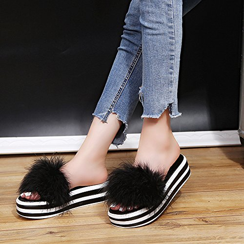 Sandal Shoes Flop Fur Open Women Black Shoes Faux Sandals Toe Farjing Flat Sale Slippers Clearance Fashion Cake Flip for Sponge RxTTqU7p