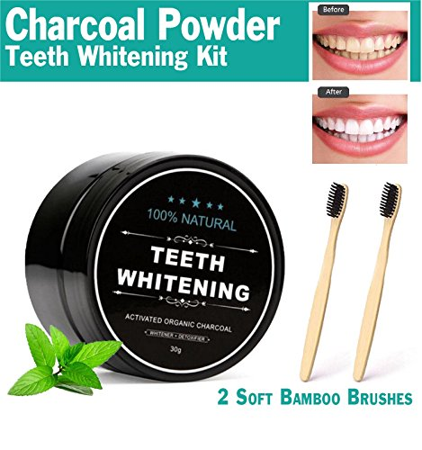 Activated Charcoal Teeth Whitening Powder Kit with 2 Bamboo - For Scratches Toothpaste