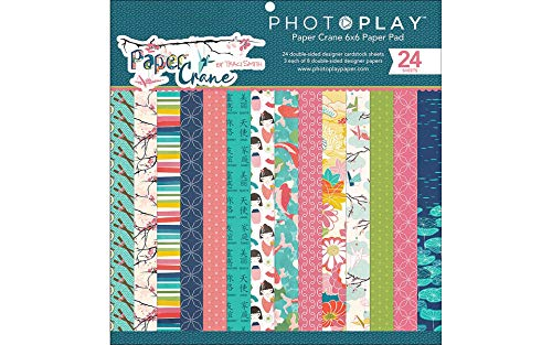 """Paper Crane PC8834 6"""" x 6"""" Photoplay Double-Sided Paper Pad (24 per Pack) Multicolor"""