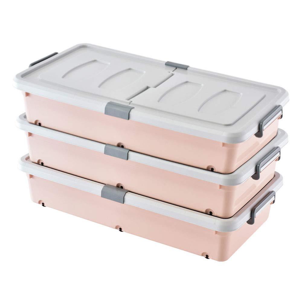 MYQ 収納ボックス 収納ボックス、3パックベッドボトム収納ボックスプラスチック収納ボックスベッド服キルト収納ボックスおもちゃ収納ボックス 化粧品収納ボックス (色 : B) B07QM7K5C8 B