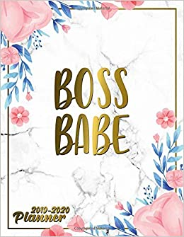 Boss Babe 2019-2020 Planner: Cute Marble & Gold Floral Daily ...