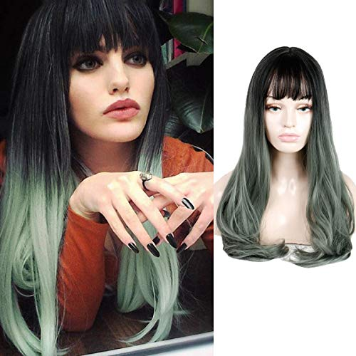 Queentas Two Tone Ombre Ash Green Wig Long Curly Hair Synthetic Heat Resistant for Cosplay Halloween Party(22inch Ombre -