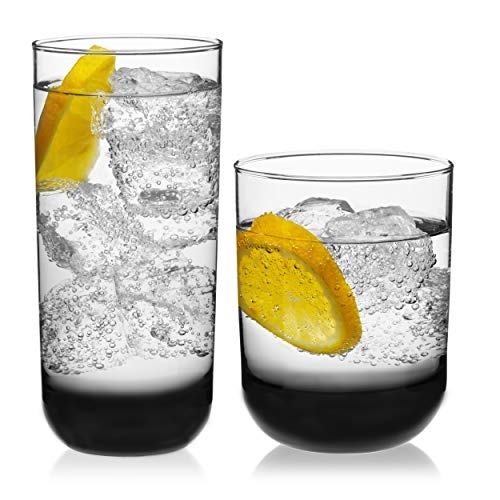 Libbey Polaris 16-Piece Tumbler and Rocks Glass Set, Smoke