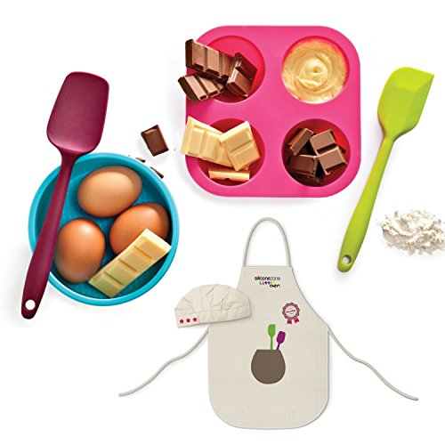 INNOKA 6 Pcs Set 100% BPA Free Junior Kids Baking Starter Kit Utensils Including Muffin/Cup Cake Mold, Mini Round Pan, Mini Spoon, Mini Spatula, Apron And Cute Little Chef Hat