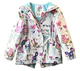 NIA for Kids Baby Toddler Girls Cartoon Spring Fall Cartoon Trench Coat Wind Hooded Jacket Zipper Outwear (5-6T)