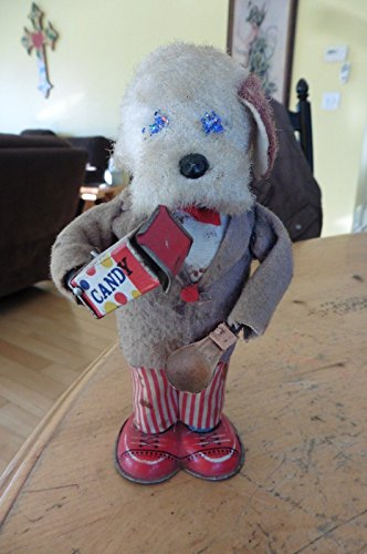 p Fuzzy Tin Toy Dog Standing Eating Candy PARTS (Tin Toy Restoration)