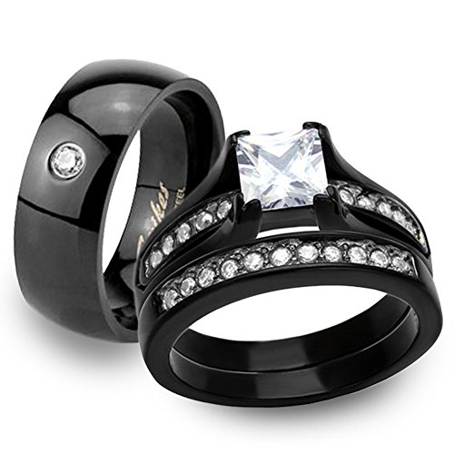 (Black Ion Plated Stainless Steel His & Hers 3pc Wedding Engagement Ring Band Set Women's Size 08 Men's 06mm Size)