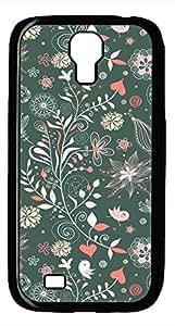 Samsung Galaxy S4 I9500 Black Hard Case - G Illustrator Flower Galaxy S4 Cases