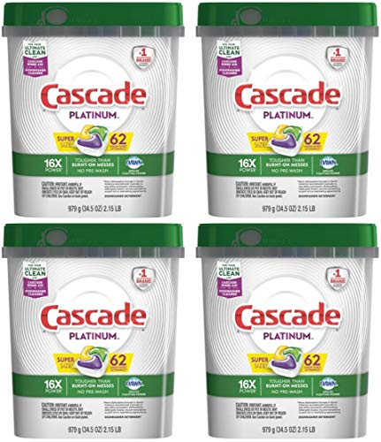 Cascade Platinum Plus Dishwasher Detergent Actionpacs, Lemon, 70 Count (.4 Pack (62 Count Each), 248 Action Pacs)