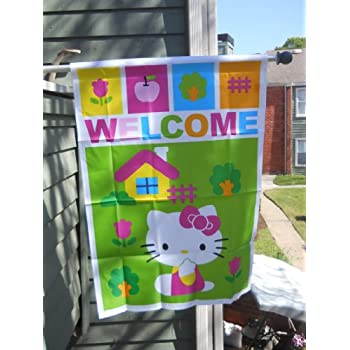 Hello Kitty .. WELCOME .. Playing Outside ... House Flag