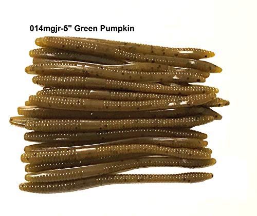 """20 Pcs 5"""" Drop Shot Finesse Worms (Green Pumpkin) Scented,Soft Plastic Worms, Bass Fishing Worms, Soft Plastic Baits"""