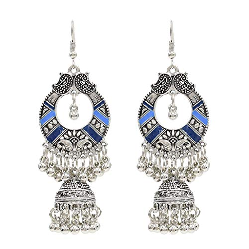 Kofun Earrings, Traditional Ethnic Indian Earrings Bali Jhumka Jhumki Gypsy Dangle Earrings Blue ()