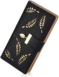 Women's Long Leather Card Holder Purse Zipper Buckle Elegant Clutch Wallet