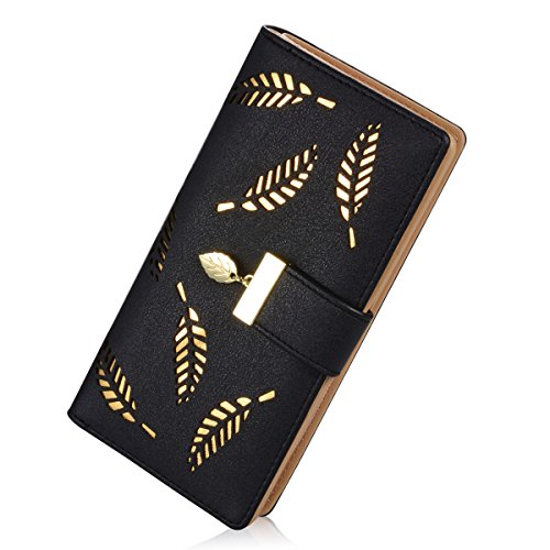 Women's Long Leaf Bifold Wallet Leather Card Holder Purse Zipper Buckle Elegant Clutch Wallet Handbag (Black)