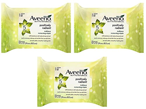 Aveeno Active Naturals Positively Radiant Facial Cleanser Makeup Removing Wipes, 25 ct (Pack of 3)