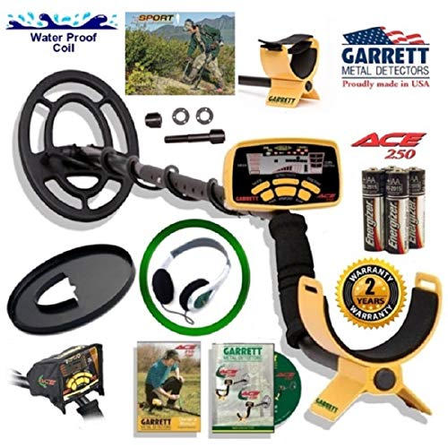 Garrett Ace 250 Discover Package with Protective Coil Cover, Rain Cover and Treasure Sound Headphones (Metal 250 Garrett Ace)
