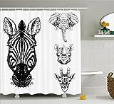 zebra shower head - Ambesonne Animal Shower Curtain by, Sketch of Zebra Giraffe Elephant and Rhino Heads African Wildlife Animal Zoo Image, Fabric Bathroom Decor Set with Hooks, 70 Inches, Black White