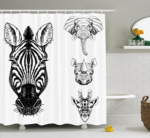 African Elephant Head - Ambesonne Animal Shower Curtain, Sketch of Zebra Giraffe Elephant and Rhino Heads African Wildlife Animal Zoo Image, Fabric Bathroom Decor Set with Hooks, 70 Inches, Black White