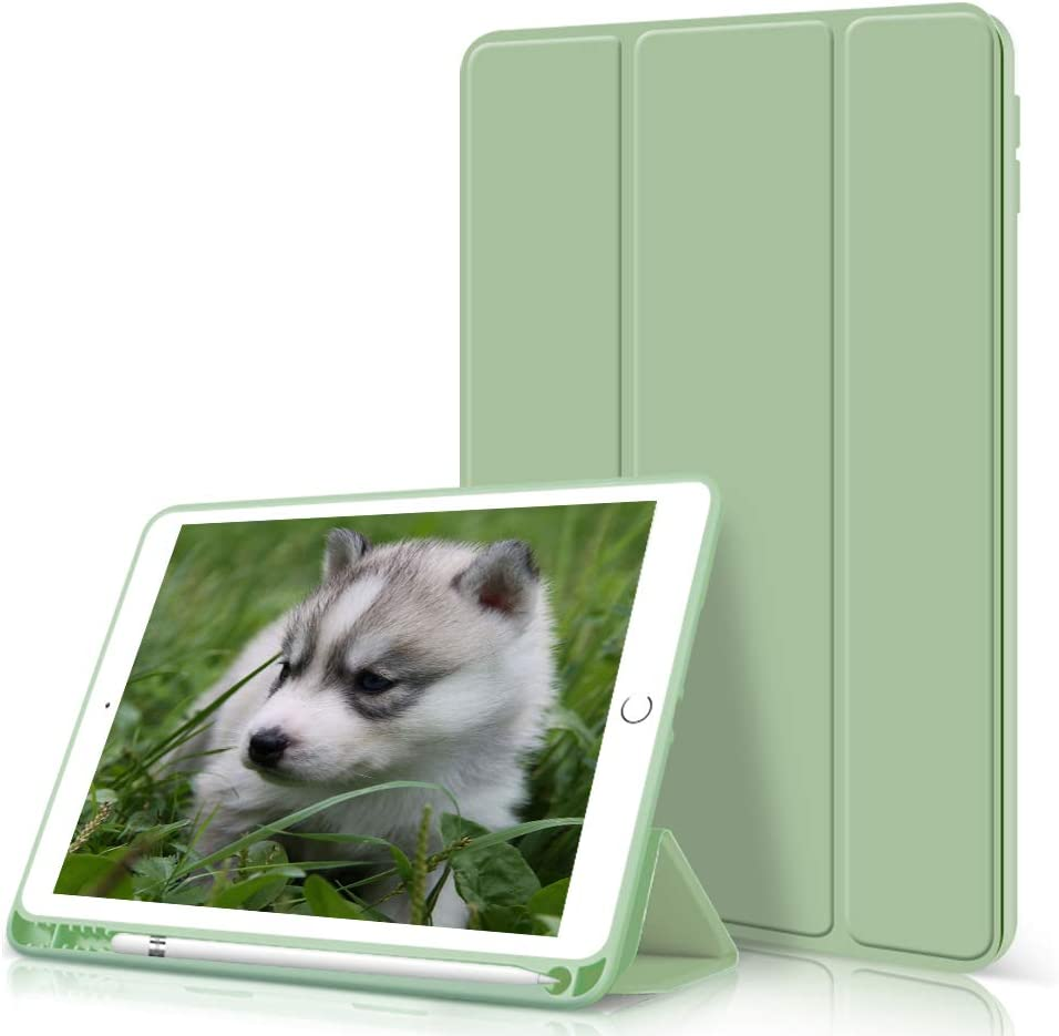 kenke ipad 9.7 2018/2017 Case with Pencil Holder,Auto Wake/Sleep Smart Cover with Trifolding Stand,Shockproof Soft TPU Back Cover for ipad 9.7 inch 6th/5th Generation,Green