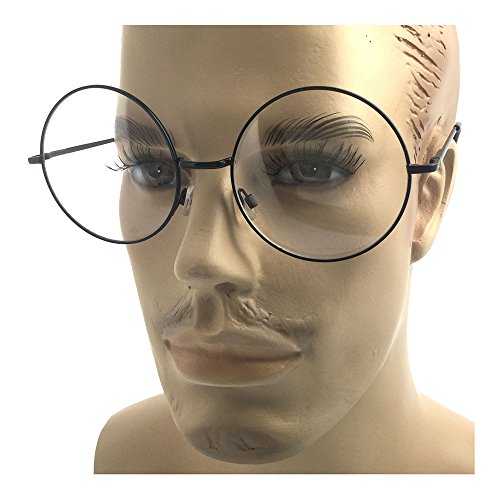 Oversized Big Round Metal Frame Clear Lens Round Circle Eye Glasses Black - - Oversized Glasses Circle