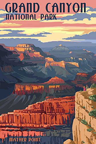 Grand Canyon National Park, Arizona - Mather Point (9x12 Art Print, Wall Decor Travel Poster) from Lantern Press