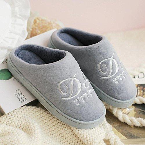 Fankou autunno inverno cotone pantofole pacchetto con coppie di spessore home anti-slittamento casa calda pantofole gli uomini e le donne spesso invernale ,40-42, grigio