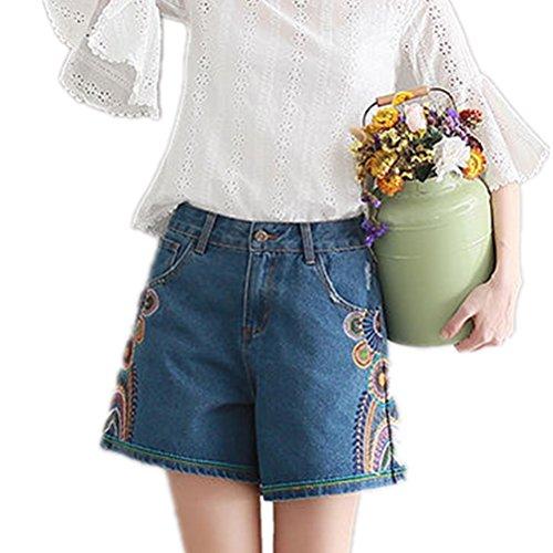 Oudan Femme Shorts Vintage Rtro en Jeans Grande Taille Chic Taille Haute Amincissant Bleu